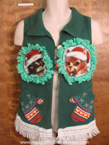 Colorful Winter Mittens Christmas Cat Ugly Sweater Vest