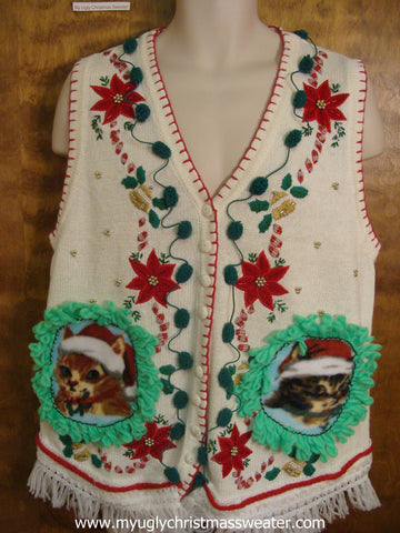 Bells, Poinsettias, and Candy Cane Christmas Cat Ugly Sweater Vest