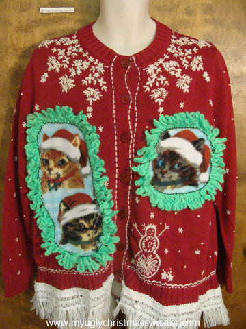White Snowflakes and Snowmen Christmas Cat Ugly Sweater