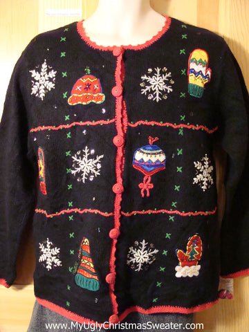 Tacky Cheap Ugly Christmas Sweater with Snowflakes, Hats, and Mittens (f636)