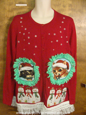 Caroling Snowmen Christmas Cat Ugly Sweater