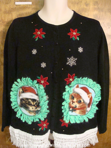 Falling Snow and Poinsettias Christmas Cat Ugly Sweater