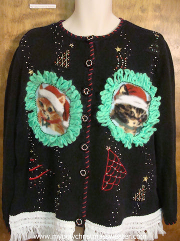 Festive Trees Christmas Cat Ugly Sweater