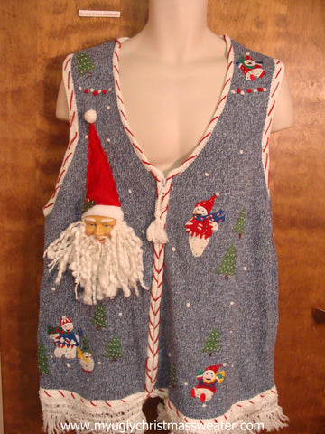 Playing Snowmen Ugly Christmas Sweater Vest