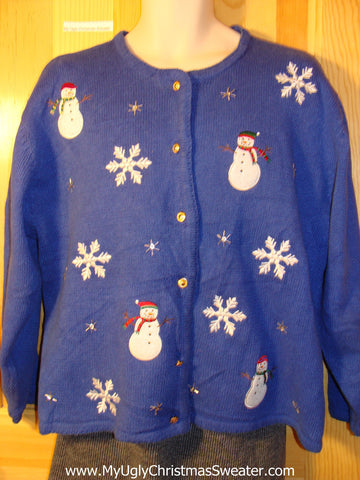 Tacky Cheap Ugly Christmas Sweater with Four Festive Plump Snowmen in a Snowy Winter Wonderland (f637)