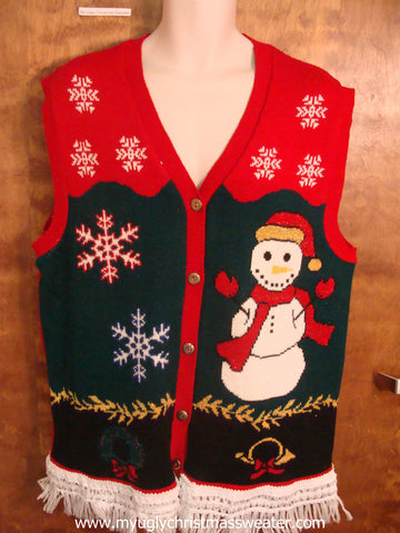 Winter Snowman Ugly Christmas Sweater Vest