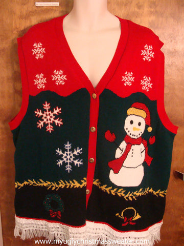 Snowman Wearing Red Scarf Ugly Christmas Sweater Vest