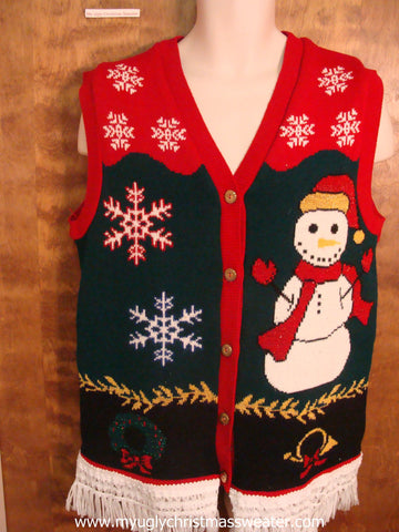Snowflakes and a Snowman Ugly Christmas Sweater Vest
