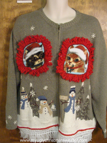 Holiday Snowmen Friends Ugly Christmas Cat Sweater
