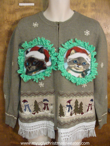 Festive Snowmen and Trees Ugly Christmas Cat Sweater