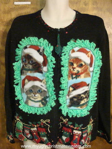 Festive Kitties Ugly Christmas Cat Sweater