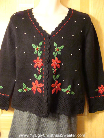 Tacky Cheap Ugly Christmas Sweater with Red Poinsettias and Ivy and Bead Bling  (f638)