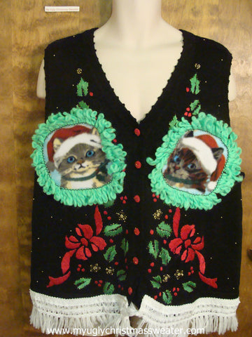 Red Bows and Holly Ugly Christmas Cat Sweater Vest