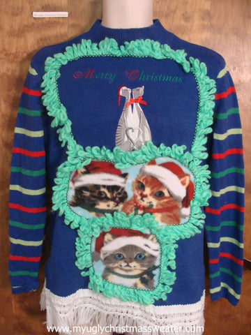 Lovebird Cats Retro Ugly Christmas Sweater