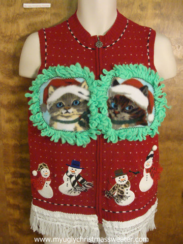 Snowmen in Scarves Ugly Christmas Cat Sweater Vest