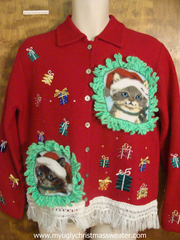 Colorful Presents Ugly Christmas Cat Sweater