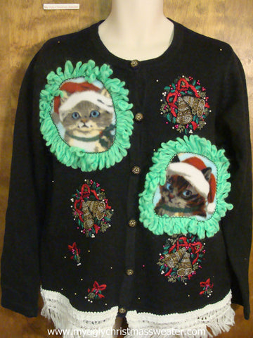 Christmas Bells Ringing Ugly Christmas Cat Sweater
