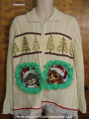 Gold Christmas Trees Ugly Christmas Cat Sweater