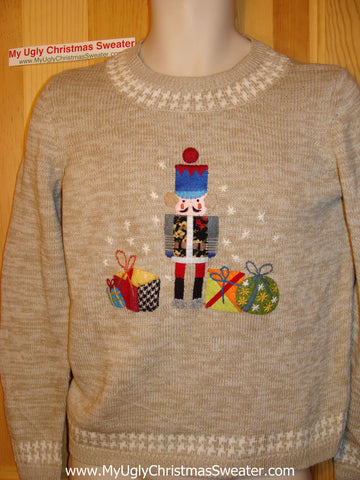 Tacky Ugly Christmas Sweater with Festive Nutcracker (f63)