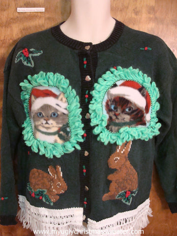 Fluffy Holiday Rabbits Crafty Cat Ugly Christmas Sweater