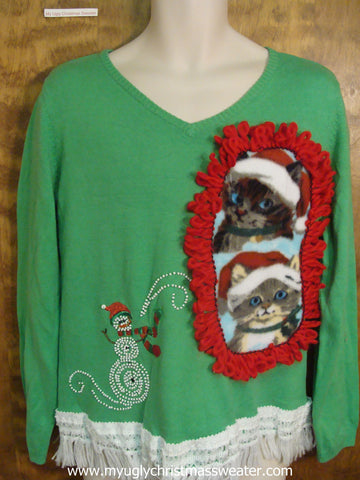 Green Crafty Cat Ugly Christmas Sweater