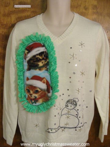 Silver and Bling Snowman Crafty Cat Ugly Christmas Sweater