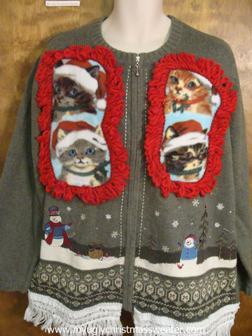 Fun Winter Scene Crafty Cat Ugly Christmas Sweater