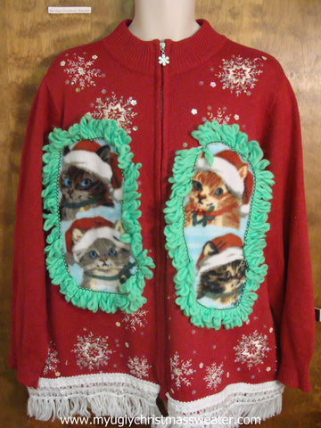 Bling Snowflakes Crafty Cat Ugly Christmas Sweater