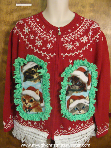 Nordic Snowflake Crafty Cat Ugly Christmas Sweater