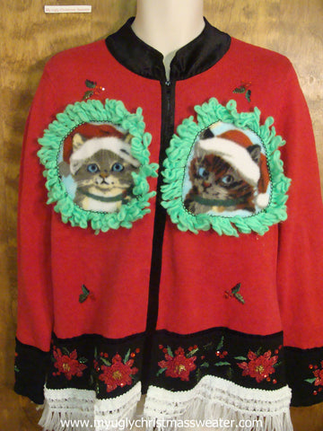 Red and Black Crafty Cat Ugly Christmas Sweater