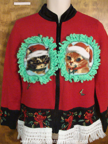 Robins Crafty Cat Ugly Christmas Sweater