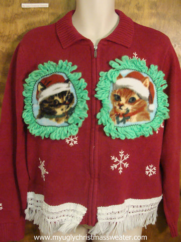 White Snowflakes Crafty Cat Ugly Christmas Sweater