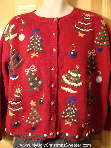 Tacky Cheap Festive Ugly Christmas Sweater with Colorful Yarn Trees on Front and Back (f640)