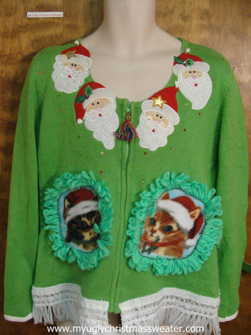 Tacky Green Crafty Cat Ugly Christmas Sweater