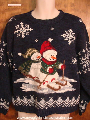 Snowman Couple Skiing Cute Christmas Sweater