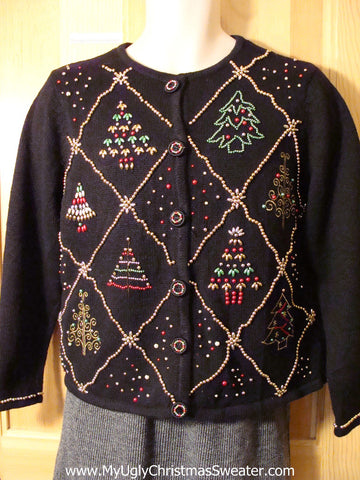 Tacky Bead Bling Cheap Ugly Christmas Sweater with Grids of Christmas Trees (f641)