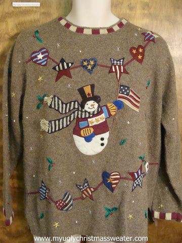 Patriotic Snowman Cute Christmas Sweater