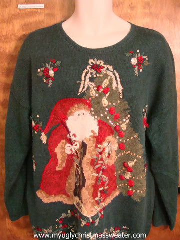 Santa Decorating the Tree Cute Christmas Sweater