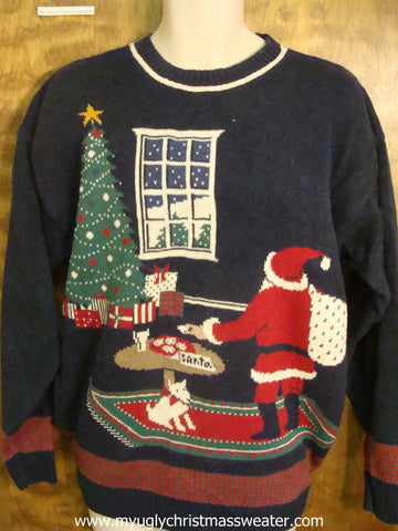 Santa Putting Presents Under the Tree Cute Christmas Sweater
