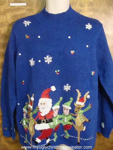 Santa and Friends Cancan Cute Christmas Sweater