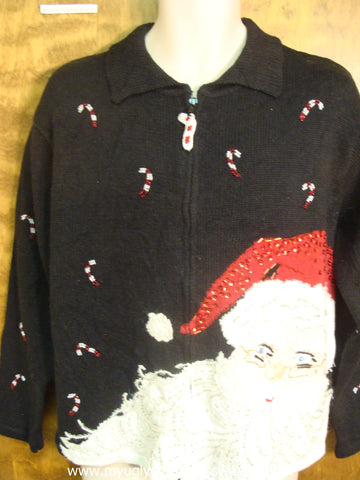 Large Santa with Candy Canes Cute Christmas Sweater