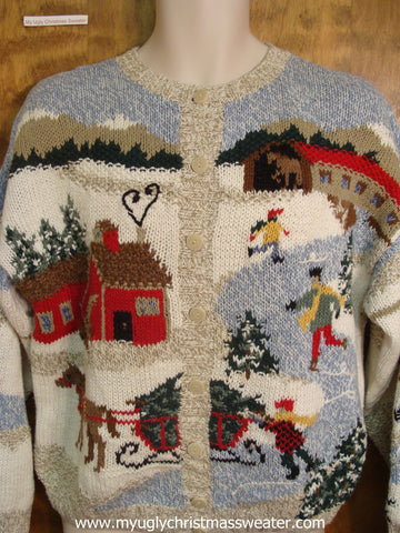 Cozy Village Cute Christmas Sweater