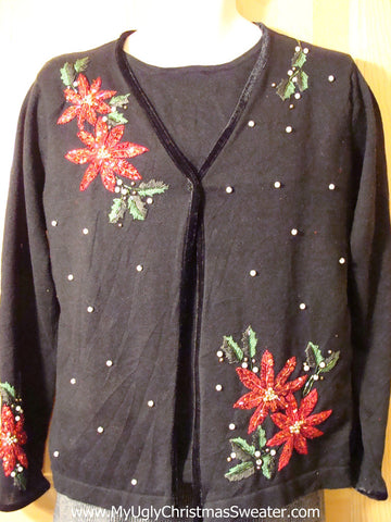 "Tacky Cheap Ugly Christmas Sweater ""Set"" with Bling Poinsettias (f644)"