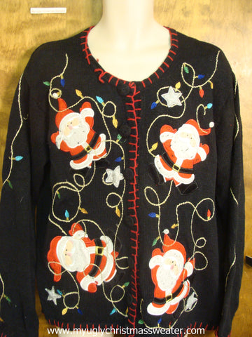 Jolly Santas Stringing Lights Cute Christmas Sweater