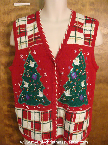 Plaid with Trees Cute Christmas Sweater Vest
