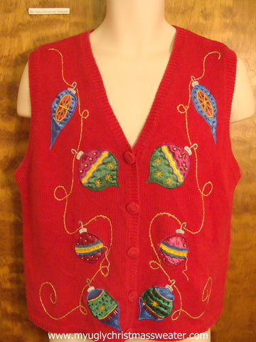 Large Colorful Ornaments Cute Christmas Sweater Vest
