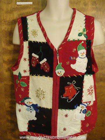 Red, Black, and White Checkered Cute Christmas Sweater Vest