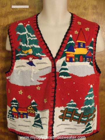 Ice Skating Cute Christmas Sweater Vest
