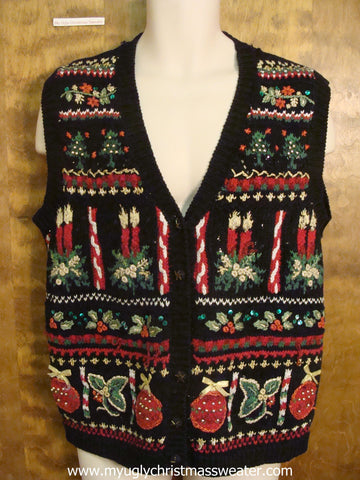 Red and Green Decorations Cute Christmas Sweater Vest