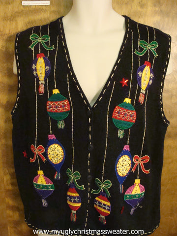 Hanging Ornaments Cute Christmas Sweater Vest